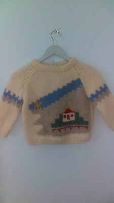 """vtg Grigoropoulos Brothers Handknitted Wool Sweater ivory house kids toddler 15"""""""