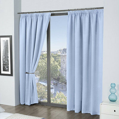 Louisiana Blackout Lined Thermal Pencil Pleat Tape Top Readymade Curtains Blue
