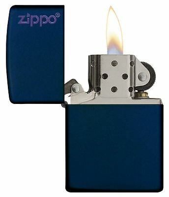 Genuine Zippo Windproof Refillable Petrol Lighter with Logo - Matte Navy Blue