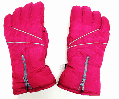 Hot Paws Girls Gloves Thermal Skiing Insulated Zipper Pink Gray Pattern SMALL