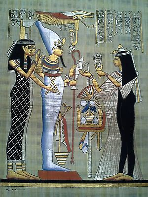 Hand Painted Egyptian Art On Papyrus, Number 9 New Ea