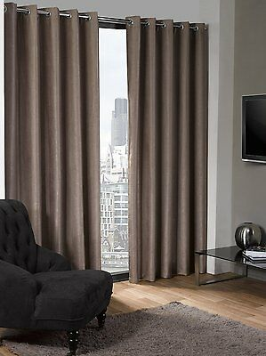 Luxury Eyelet Thermal Blackout Textured Ring Top Curtains Beige Various Sizes