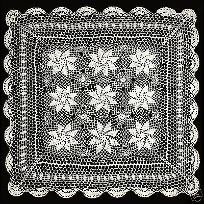 """Vintage Crochet Lace Doilies Placemat Table Runner 30""""x30"""" Ivory Hand Kintted"""