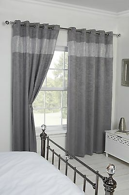 Blackout Eyelet Thermal Ringtop Readymade Eco Diandra Curtains Silver 4 Sizes