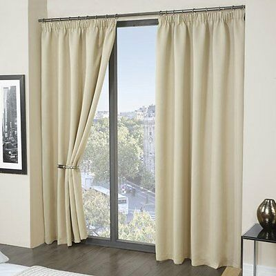 Louisiana Blackout Thermal Lined Tape Top Pencil Pleat Curtains Beige 8 Sizes