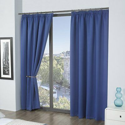 Louisiana Blackout Thermal Lined Tape Top Pencil Pleat Curtains Blue 8 Sizes