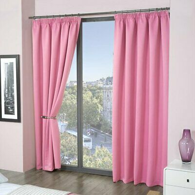 Louisiana Blackout Thermal Lined Tape Top Pencil Pleat Eco Curtains Pink 8 Sizes
