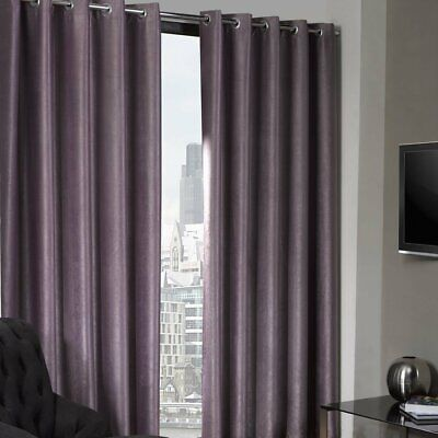 Luxury Eyelet Thermal Blackout Textured Ring Top Curtains Aubergine 6 Sizes