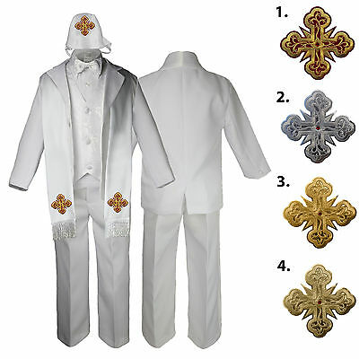 5 6 7pc White Baby Toddler Boy Christening Suits Option for Cross Hat Stole