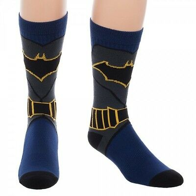 Dc Comics Batman Suit Up Crew Socks Adult Black Blue Costume Logo Cosplay Retro