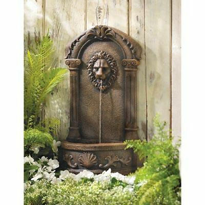 Classically Inspired European Antique Replica Lion Head Faux Stone Fountain