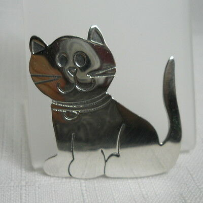 Adorable KITTY CAT Sterling Silver 925 Vintage Estate Pin Brooch