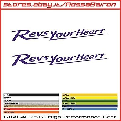 KIT 2 ADESIVI REVS YOUR HEART YAMAHA mm.100x13 - STICKERS PEGATINAS DECALS