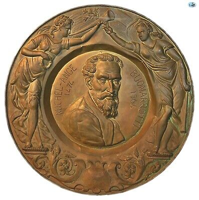 Wonderful Antique Large Michelangelo Renaissance Style Bronze Wall Plaque