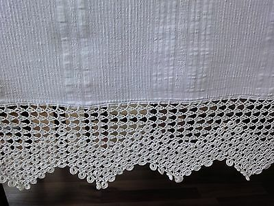 Vintage Hand-Woven Selvage White Bedspread with Beautiful Hand-Crocheted Lace