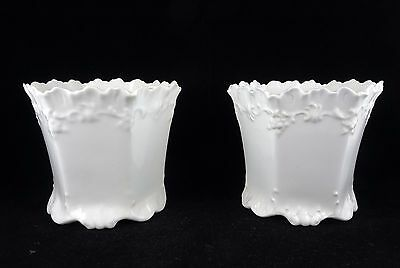 Pair of Royal Crown Derby Small White Flower Pots or Cachepots