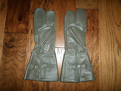 German Military Leather Motorcycle Gloves Split Finger  Size 8 1/2 Genuine
