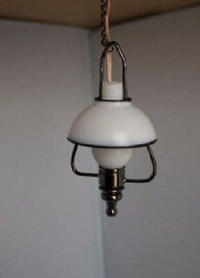 Dollhouse Miniature - C4 - Battery LED - Hanging Lantern Lamp in Black Metal