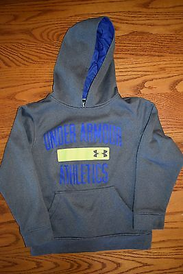 UNDER ARMOUR Boys Size XS Gray Yellow Blue Hoodie Sweatshirt EXCELLENT CONDITION
