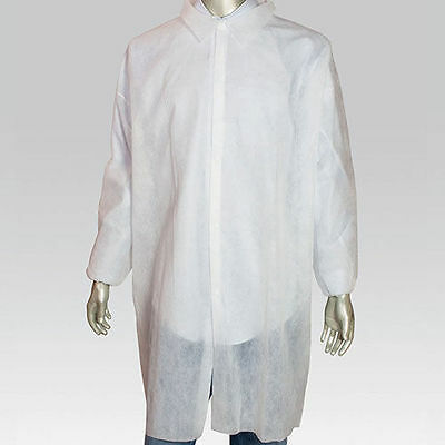 KeyGuard White Poly Disposable Lab Coats Size Small Pack of 30, LC0-WE-KG-SM-1BG