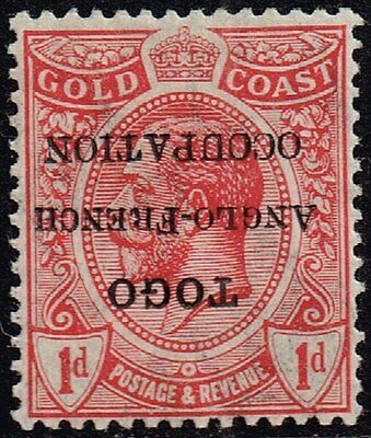 Togo 1915 1d. red opt. inverted, MH (SG#H35h)