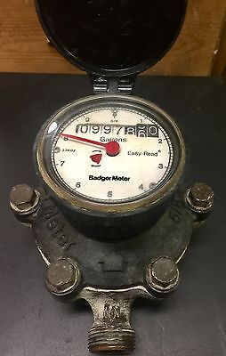 "Badger Water Meter Easy Read Gallons 5/8"" x 3/4"" Plumbing Steampunk BRASS"