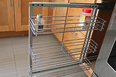 "Spice Rack- In-cabinet Pull Out 3 Shelves 5.5"" Wide Wall Mounted- Polish Chrome"