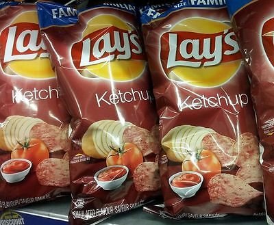 New FRITO LAYS CANADIAN KETCHUP CHIPS FAMILY SIZE BAG 255g