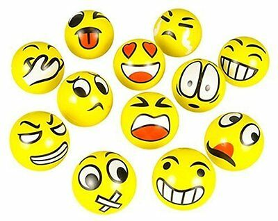 12Pcs Cute Smile Sports Anti Stress Relief Ball Emoji Squeeze Therapy Reliever