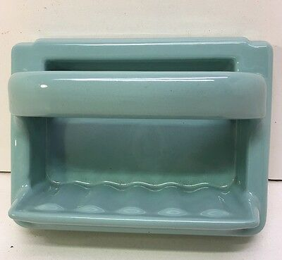 Vintage Turquoise Ceramic Porcelain Tile In Soap Dish Grab Bar 1950s Bathroom