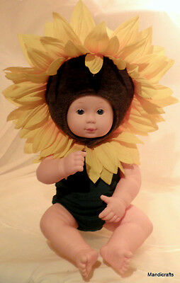 Anne Geddes Baby Doll Vinyl in Sunflower Outfit Removable 15in Jointed 2000