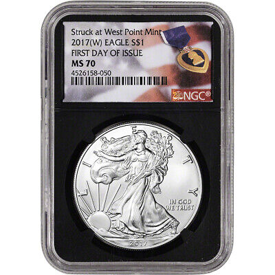 2017-(W) American Silver Eagle - NGC MS70 First Day of Issue Purple Heart Black