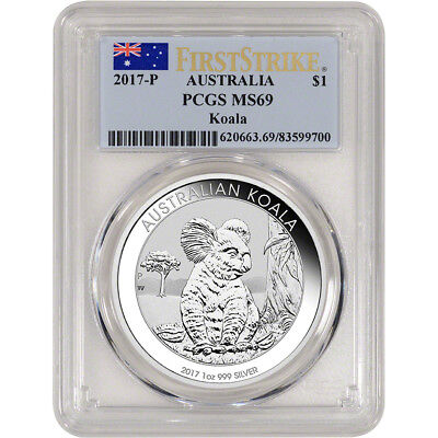 2017 P Australia Silver Koala (1 oz) $1 - PCGS MS69 - First Strike