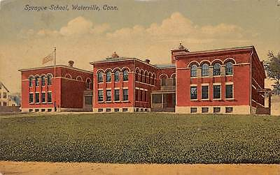 WATERVILLE, CT ~ SPAGUE SCHOOL ~ AUGUST SCHMELZER CO., PUB. ~ used c. 1910s