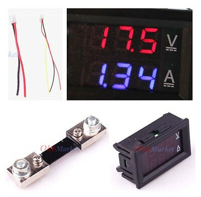 Mini DC 100A 100V Digital Voltmeter Ammeter Blue&Red LED Current Shunt Amp Meter