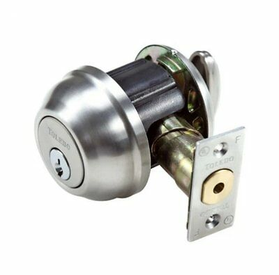 Deadbolt Lock Single Cylinder Dead Bolt w Schlage Keyway Satin Chrome Toledo's