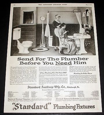 1919 Old Magazine Print Ad, Standard Plumbing Fixtures, Send For The Plumber!