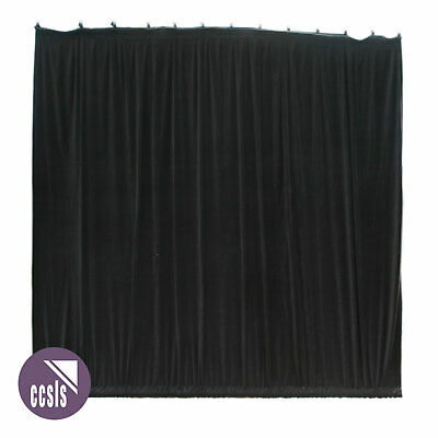 Bravo 5M X 5M Black Cotton Velvet Stage Curtain - Gathered _ 55A