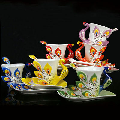 NEW Porcelain Handmade  Peacock Coffee Tea Set 1 Cup 1 Saucer 1 Spoon 969