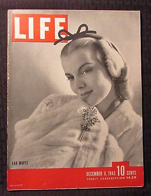 1943 December 6  LIFE Magazine VG 4.0 Ear Muffs Cover - Great Vintage Ads