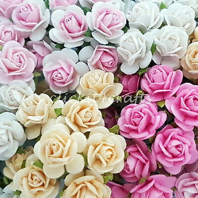 100 Mini Paper Flowers Wedding Rose Doll House Gift Basket Craft Supply R2-02