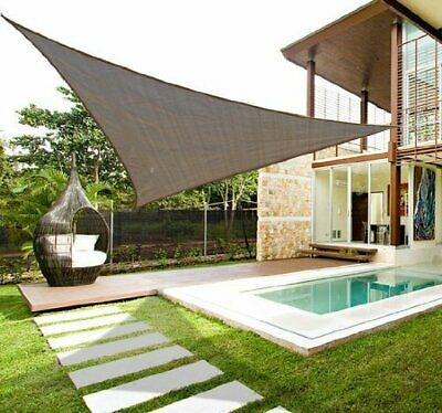 18' Sun Sail Shade Garden Canopy Cover Triangle UV Protector Outdoor Light Brown