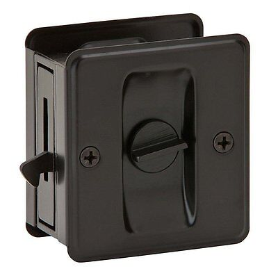 Oil Rubbed Bronze Pocket Sliding Door Privacy Handle Lock Pull Hardware Set