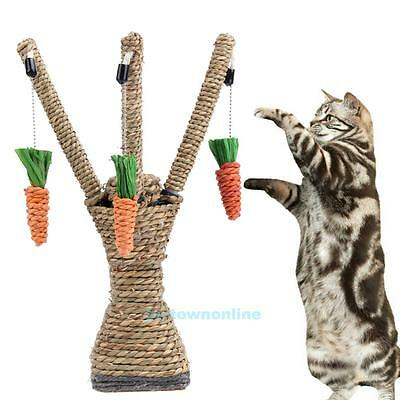 Pet Cat Kitten Scratching Post Toy Tree Scratcher Sisal Rope Activity Climbing