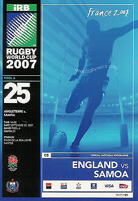 ENGLAND v SAMOA RUGBY WORLD CUP 22 Sep 2007 PROGRAMME POOL A - MATCH No 25