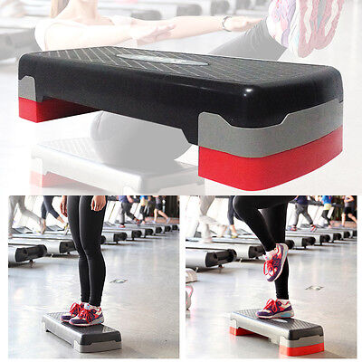 2 Level Stack Aerobic Step Block Gym Exercise Workout Fitness Platform Plate New