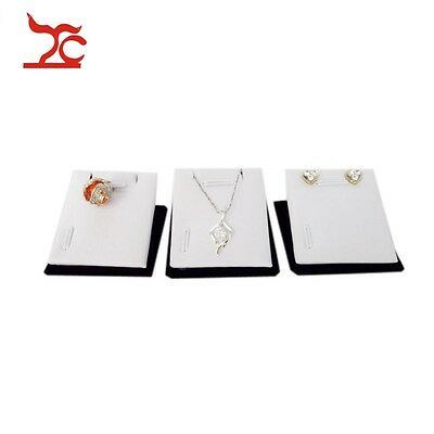 3pcs Pendant Holder Necklace Earring Stand White Leatherette MDF Jewelry Display