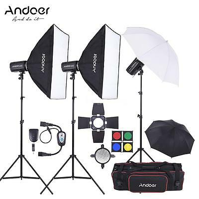 Andoer 750W Studio Strobe Flash Light Kit with Light Stand for Photography S7C0