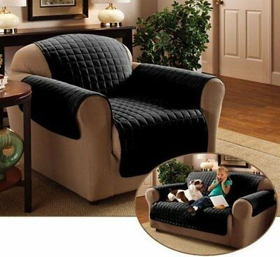 Emma Barclay Quilted Water Resistant Furniture Cover Protector For Chair Black