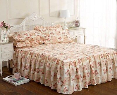 Emma Barclay Traditional Floral Fitted Quilted Bedspread Throw Set Pink 3 Sizes